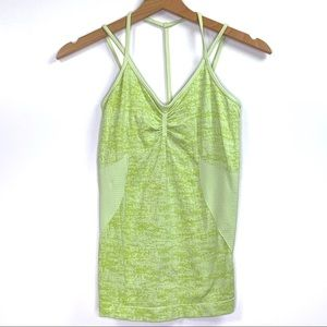 Zella Lime Green Stretchy Strappy Yoga Tank Top